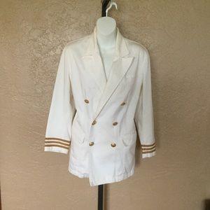 Vintage White Ralph Lauren Military Navy Jacket S